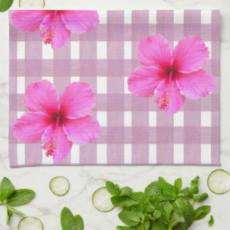 Pink Hibiscus on Gingham Kitchen Towel