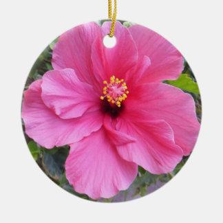 Pink Hibiscus ornament, customize Round Ceramic Decoration