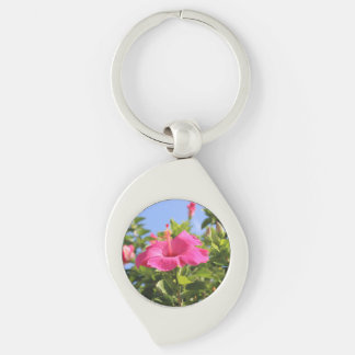 Pink hibiscus Silver-Colored swirl key ring