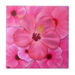 Pink Hibiscus Small Square Tile