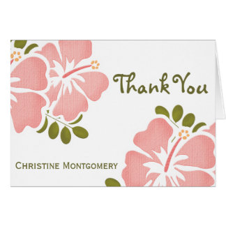 Pink Hibiscus Thank You Notes Cards