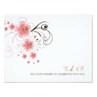 Pink Hibiscus Tropical Beach Wedding RSVP Card
