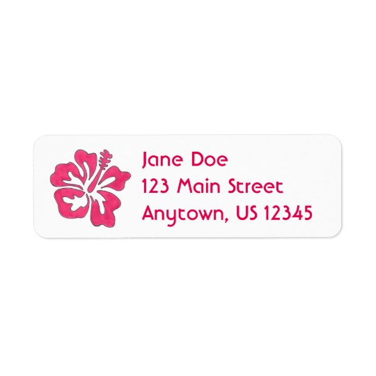 Pink Hibiscus Tropical Flower Floral Labels