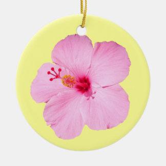 Pink Hibiscus Tropical Flower Round Ceramic Decoration