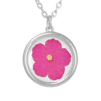 Pink Hibiscus Tropical Flower Round Pendant Necklace