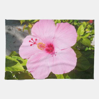 Pink Hibiscus Tropical Flower Tea Towel
