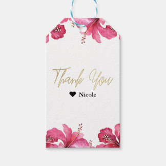 Pink Hibiscus Tropical Flowers White Party Favor Gift Tags