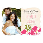 Pink Hibiscus Tropical Themed Save the Date Cards 13 Cm X 18 Cm Invitation Card