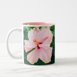 Pink Hibiscus Two-Tone Coffee Mug