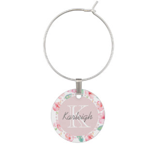 Pink Hibiscus Watercolor Flowers Wine Charm
