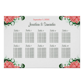 Pink Hibiscus Wedding 10 Tables Seating Charts Poster