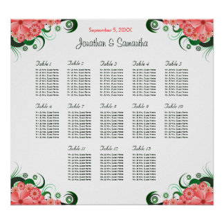 Pink Hibiscus Wedding 13 Tables Seating Charts Poster