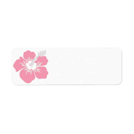 Pink Hibiscus Wedding Blank Address Labels