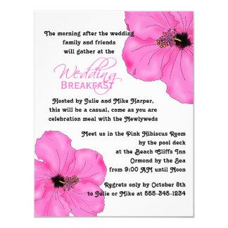 Pink Hibiscus Wedding Breakfast Invitation