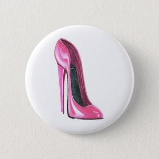 Pink High Heel Shoe Art Button