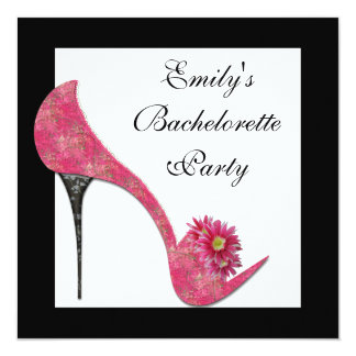 "Pink High Heel Shoes Bachelorette Party 5.25"" Square Invitation Card"