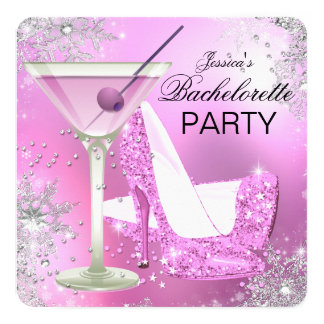 Pink High Heel Shoes Bachelorette Party Invitation