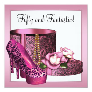 Pink High Heel Shoes Womans Leopard 50th Birthday 13 Cm X 13 Cm Square Invitation Card