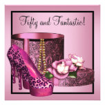 Pink High Heel Shoes Womans Leopard 50th Birthday Invitation