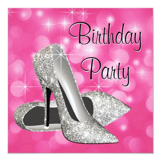 Pink High Heels Any Number Birthday Party Card