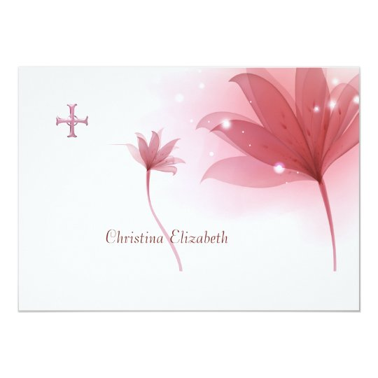 Pink High Personalised Religious Thank You Card