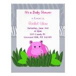 Pink Hippo Baby Shower Invitation