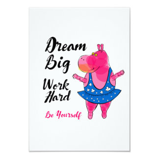 """Pink hippo ballerina with inspirational sign """"Work Card"""