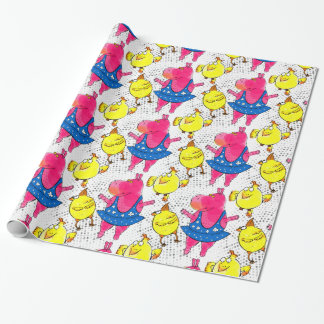 Pink hippo ballerina, yellow chicken wrapping paper