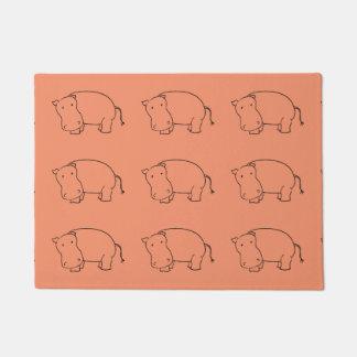 pink hippo doormat