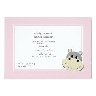 Pink Hippo Invitation