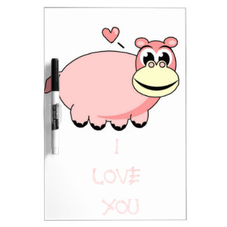 Pink Hippo Love Dry Erase Board