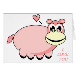 Pink Hippo Love Greeting Card