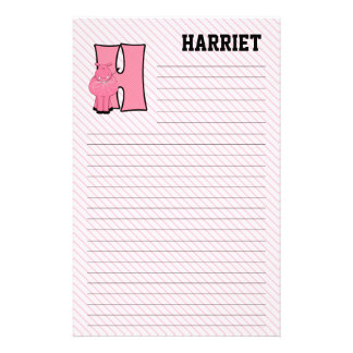 """Pink Hippo Mongrammed """"H"""" Lined Stationery"""