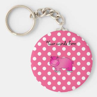 Pink hippo pink polka dots basic round button key ring