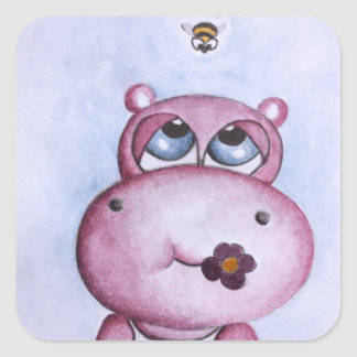 Pink Hippo Sticker