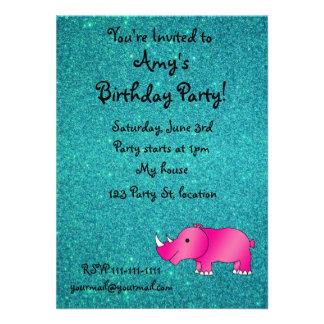 Pink hippo turquoise glitter custom invitation