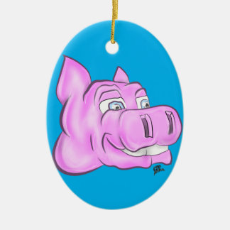 Pink Hippopotamus Hippy Happy Face Ceramic Oval Decoration