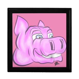 Pink Hippopotamus Hippy Happy Face Large Square Gift Box