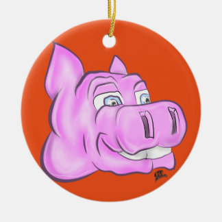 Pink Hippopotamus Hippy Happy Face Round Ceramic Decoration