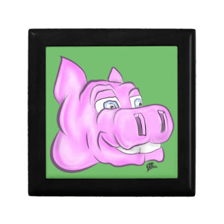 Pink Hippopotamus Hippy Happy Face Small Square Gift Box
