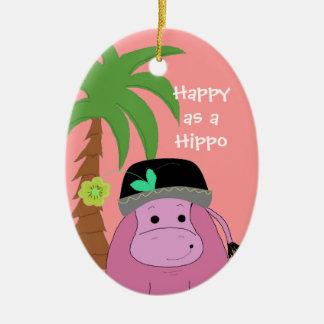Pink Hippopotamus with a Palm Tree Ceramic Oval Decoration