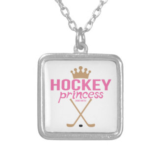 Pink Hockey Princess Girls Square Pendant Necklace