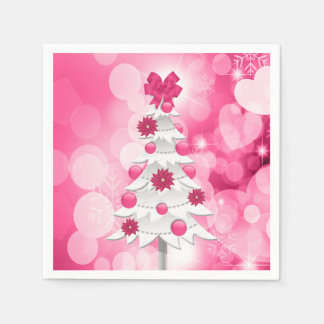 Pink Holiday Party Christmas Tree and Poinsettia Disposable Serviettes