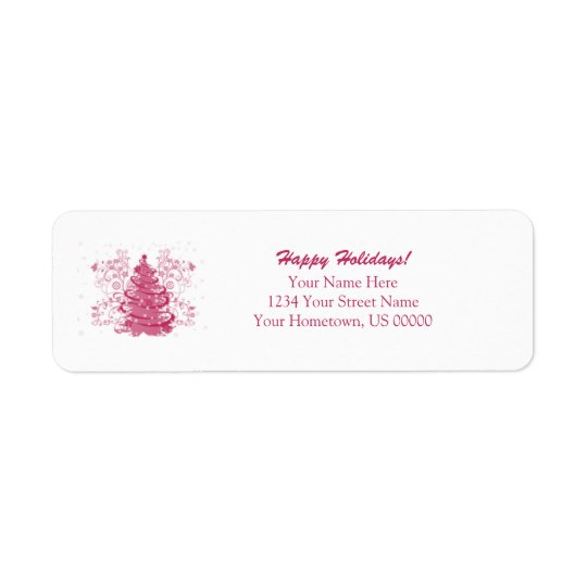 Pink Holiday Tree Return Labels