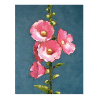 PINK HOLLYHOCKS IN OIL PASTEL POSTCARD