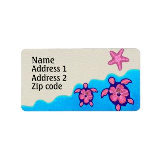 Pink Honu Turtles Address Label