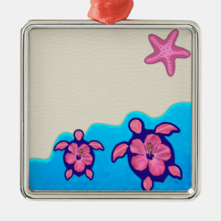 Pink Honu Turtles Christmas Ornament