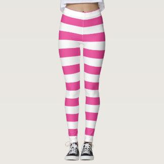 Pink Horizontal Stripes Leggings