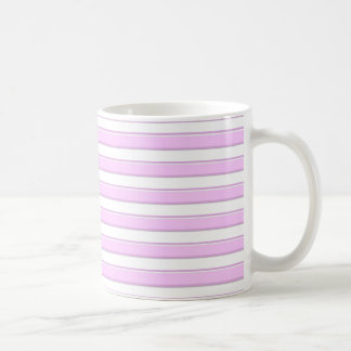 Pink Horizontal Stripes on White Mug