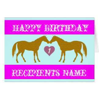 Pink Horse Age Birthday Card - Horse Age Card 1